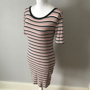 Forever 21 Pink Black White Striped Bodycon Dress
